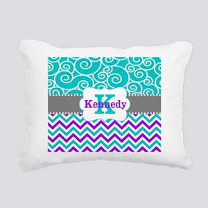 Teal Purple Swirls Chevron Personalized Rectangula